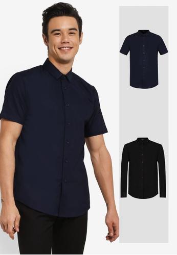 ZALORA black and navy 2 Pack Slim Fit Oxford Short & Long Sleeve Shirt ZA919AA0FKGCSG_1