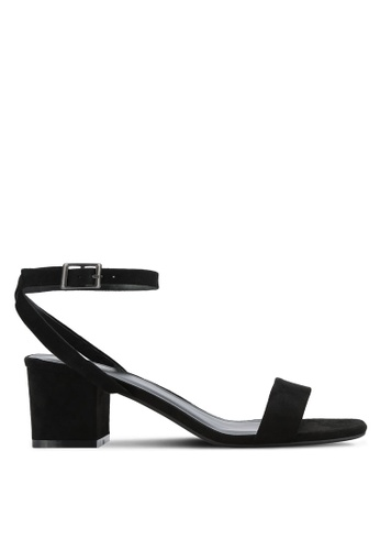 ZALORA black Faux Suede Ankle Strap Heeled Sandals 88A40SH925739FGS_1