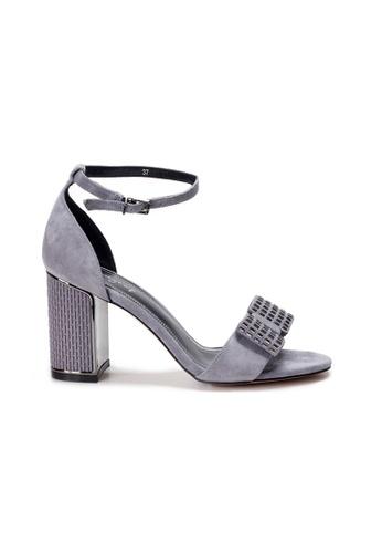 Shu Talk grey AMAZTEP Ankle Strap Sandals Blocked Heels 189F3SH910B022GS_1