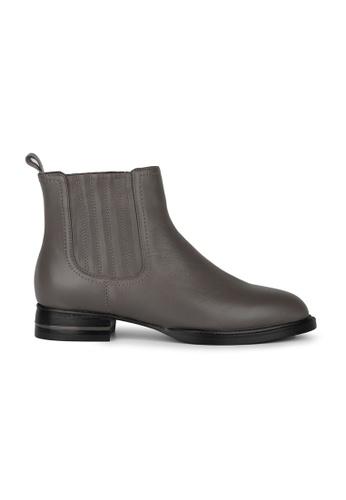 MAUD FRIZON grey Calf Leather Round Toe Riding Bootie With Metal Rand Heel Detail 5C6E1SHC8C34ABGS_1