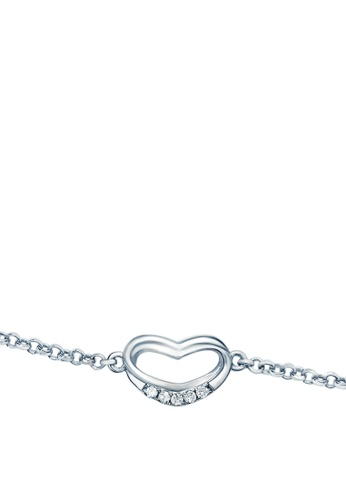 "GOLDHEART gold Goldheart White Gold 375 (9K) ""Adoring Heart"" Diamond Bracelet (B1039) A229BAC7444C9FGS_1"