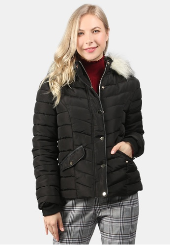 London Rag black Puffer Jacket With Faux Fur Hoodie F9D84AAE73C3A2GS_1