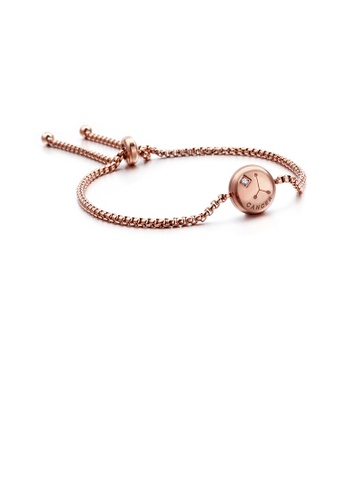 Glamorousky white Simple and Fashion Plated Rose Gold Twelve Constellation Cancer Round 316L Stainless Steel Bracelet with Cubic Zirconia 9AB55ACB001D6AGS_1