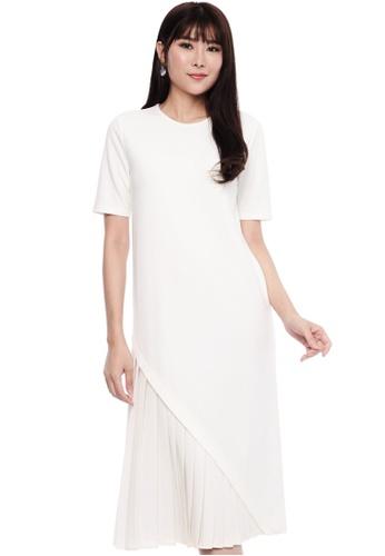 Nichii white Asymmetrical Pleat Shift Dress 97F7AAA91010B8GS_1