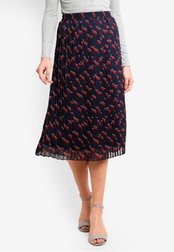 Vero Moda navy Yasmin Pleat Midi Skirt DE1C4AA79B99BFGS_1