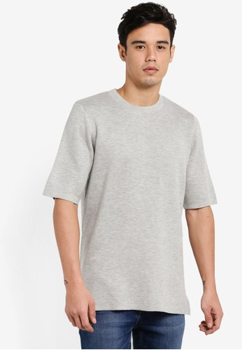 Topman grey Grey Double Face Fabric Knitted T-Shirt TO413AA07EMEMY_1