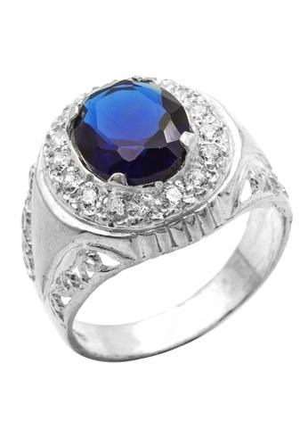 Elfi blue Elfi 925 Genuine Silver Engagement Ring R21 - The Emerald King (Blue) 21D1CAC5AC26EEGS_1