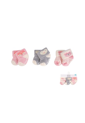 Little Kooma grey and white and pink New Born Baby Terry Socks 3 Pack 00376 - 1204 Fox 2646EKAC5D4589GS_1