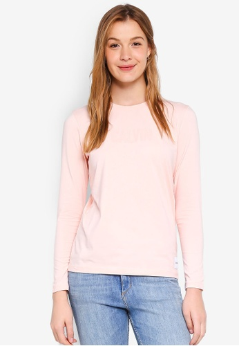 Calvin Klein pink Long Sleeve New Fa Straight Tee - Calvin Klein Jeans 128B6AAA77C0D9GS_1