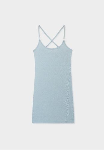Pomelo blue Cross Back Oval Neck Dress - Blue B2C65AACF9A8CEGS_1