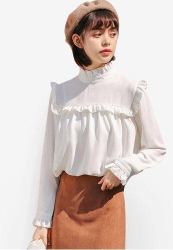 Shopsfashion white Illusion Collar Blouse 5A5A8AABEF1AFDGS_1