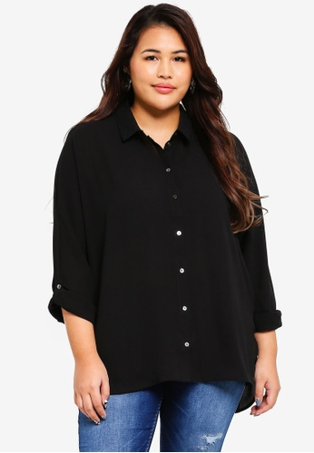 Only CARMAKOMA black Plus Size Long Sleeve Solid Shirt AC361AA5DB6979GS_1