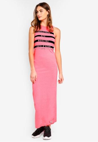 Superdry 粉紅色 條紋長洋裝 73F10AA4669470GS_1