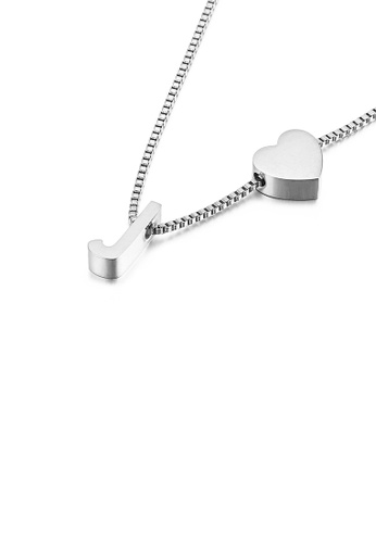 Glamorousky silver Simple and Fashion Heart-shaped English Alphabet J 316L Stainless Steel Pendant with Necklace FD1CEAC2BF6285GS_1