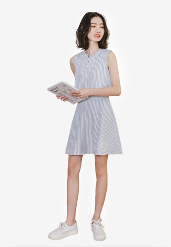 Sunnydaysweety blue Striped Sleeveless One Piece Dress E2BE8AACCB7D5CGS_1