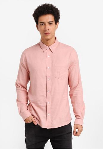 Burton Menswear London pink Long Sleeve Pink Grindle Shirt C79A2AAAB65569GS_1