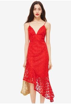 82fcb0c3d9195 TOPSHOP red Lace Plunge Asymmetrical Hem 5A271AAA0A9642GS 1