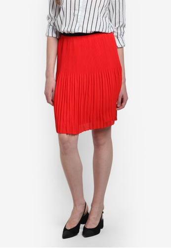 Vero Moda red View Plisse Pleated Skirt VE975AA0RGNTMY_1