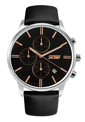 Skmei gold SKMEI 9103 Men's Quartz Calendar Stopwatch Leather Watch (Black Gold) SK707AC0RXE2MY_1
