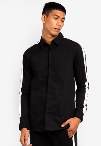 Brave Soul black Contrast Long Sleeve Shirt 7D619AA8010901GS_1