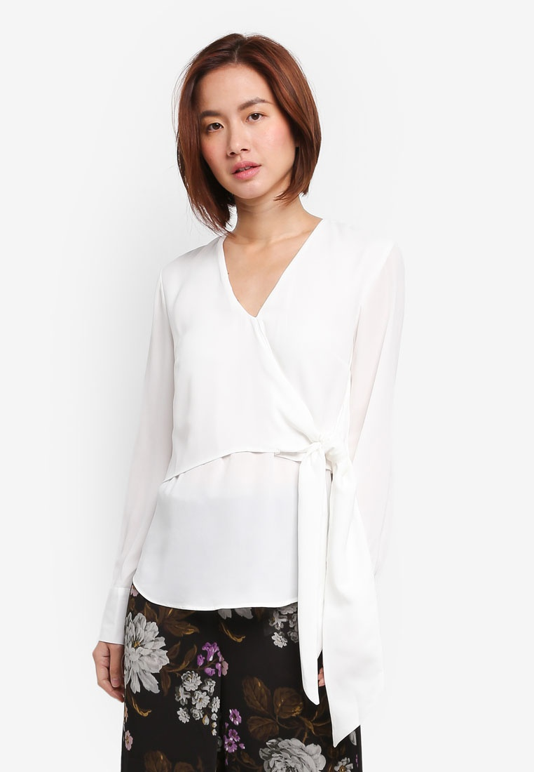 Cream WAREHOUSE Front Wrap Tie Top IqrIOw4H