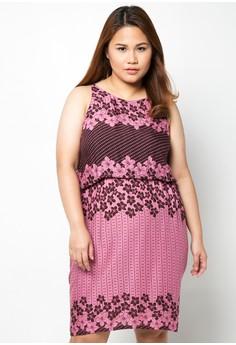Sleeveless Printed Plus Size Dress