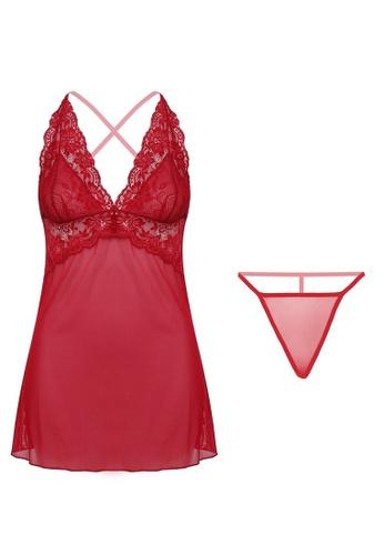 SMROCCO Regina Lingerie Dress Nightie PM8084 (Maroon) EA2A2AA684FC73GS_1