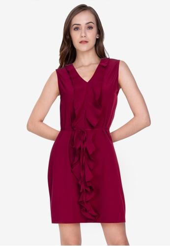 ZALORA WORK red Ruffle Front Mini Dress FF1FFAA3F83C90GS_1
