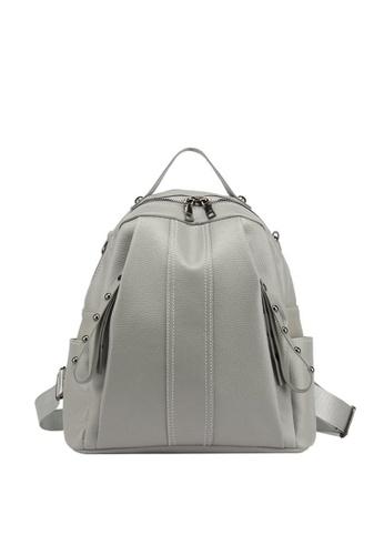 Lara black Women's Litchi Pattern Oxford Cloth Zipper Backpack Shoulder Bag - Black 3857EAC043825AGS_1