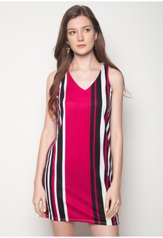 V-Neck Stripe Shift Dress