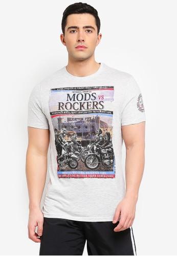 Brave Soul beige Conflict T-Shirt with Photographic Burnout Chest Print C38D8AA7B410C1GS_1