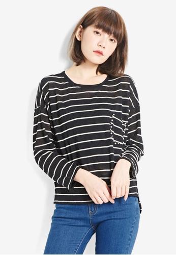 Tokichoi black Stripe Long Sleeve T-Shirt F6148AADFE84A3GS_1