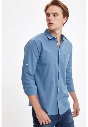 DeFacto blue Man Woven Long Sleeve Shirt 4F88DAA7CE5CD9GS_1
