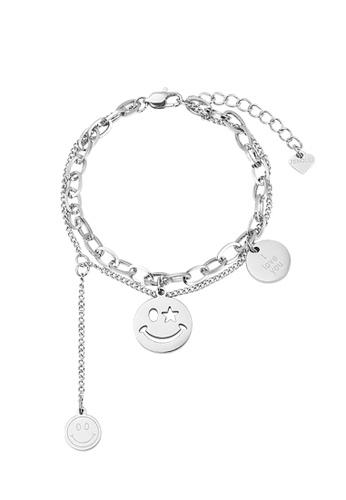 CELOVIS silver CELOVIS - Trixie Smiley Pendant with 'I Love You' Multi-layer Chain Bracelet in Silver CB157ACBB00736GS_1