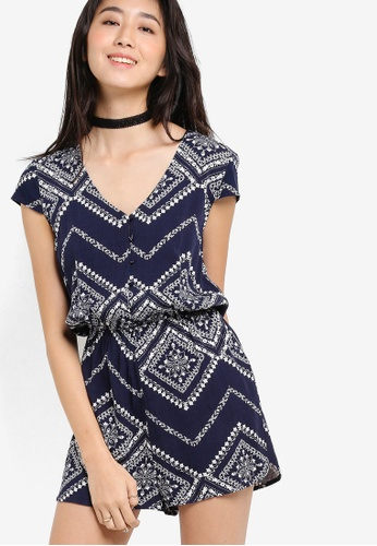 a084c40d766 ZALORA navy Love Button Front Playsuit With Cap Sleeves 18A37AA35AAC08GS 1
