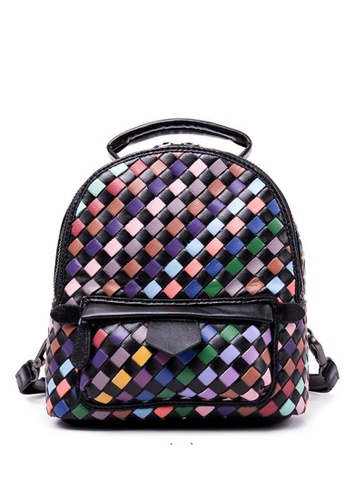 BLANC NOIR multi Genuine Leather Hand Weaving Backpack- Small BL685AC32PLZHK_1