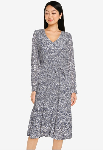 JACQUELINE DE YONG blue Emma Long Sleeves Pleat Below Knee Dress 63A6EAA57B6CC1GS_1