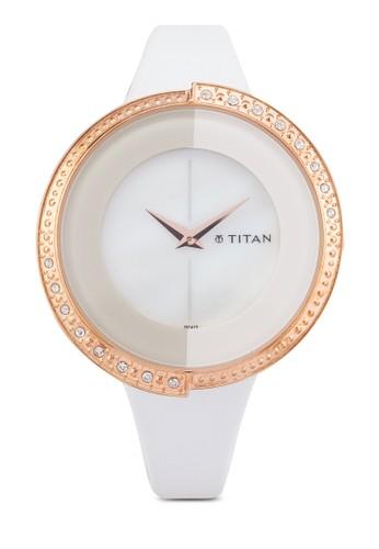 Titan  9943WL01 時尚水鑽皮esprit tw革錶, 錶類, 皮革錶帶
