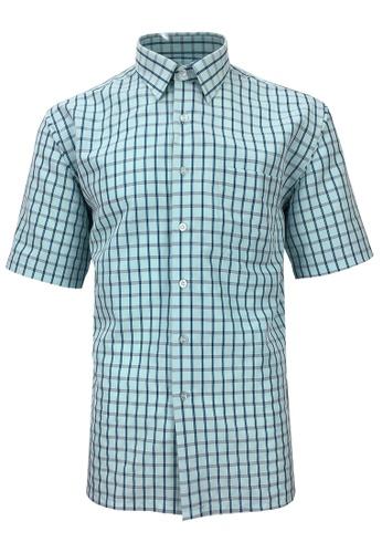 Pacolino blue Pacolino - Korea Polynosic Wrinkle Free Checker Formal Casual Short Sleeve Men Shirt 46ABFAA8431EE8GS_1