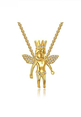 HAPPY FRIDAYS gold Crown Angel Boy Pendant Necklace JW QF-DZ374 54086ACE9D910DGS_1