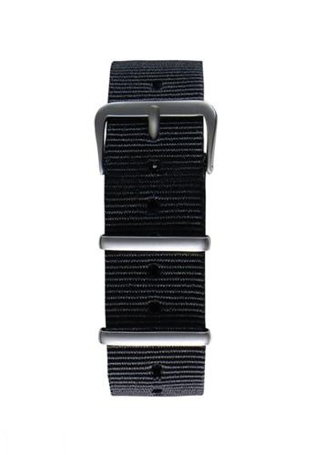 NATO霧面銀黑色錶帶, 錶類,esprit taiwan 其它錶帶