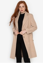 Well Suited brown Striped Side Contrast Wool Trench 10029AA6EE1DAFGS_1