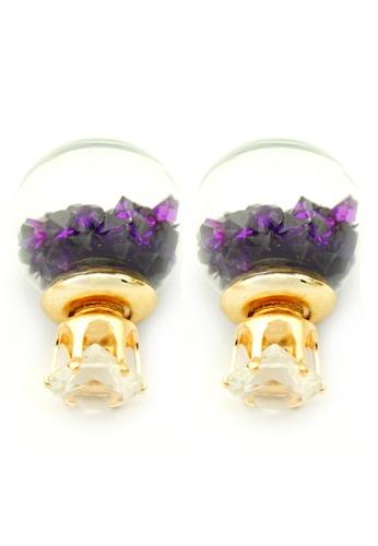 YOUNIQ purple and gold YOUNIQ-Basic Korean Wishing Crystal Ball Earring (Purple) YO999AC88TITMY_1