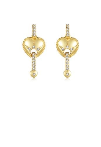 Glamorousky white Fashion Simple Plated Gold Heart-shaped Earrings with Cubic Zirconia 879F6ACC44CE35GS_1
