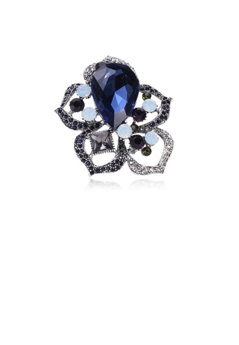 Glamorousky blue Fashion and Elegant Hollow Flower Brooch with Blue Cubic Zirconia CFB78AC792801AGS_1
