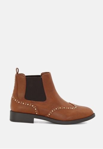 London Rag brown Studded Oxford Ankle Boots 4DB41SH80DCA87GS_1