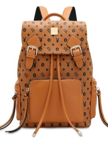 PLAYBOY BUNNY brown Women's Monogram Printed Backpack 19CB5ACAB1508AGS_1