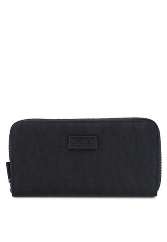 Bagstationz black Crinkled Nylon Double Zip-Up Wallet 8C906ACD7C29C3GS_1