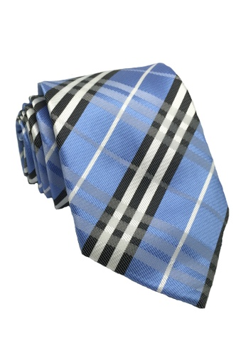 Splice Cufflinks yellow and blue Checkerboard Series Blue Checked Design Polyester Tie SP744AC88ILNSG_1