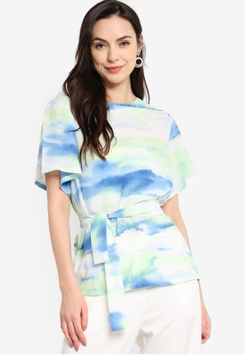 ZALORA WORK multi Flare Sleeves Top With Self Tie 3A62FAA6E8D8BAGS_1